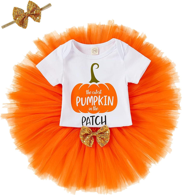 Baby Girl Halloween Skirt Set Newborn Romper Tutu Skirt with Headband 3pcs Thanksgiving Clothes