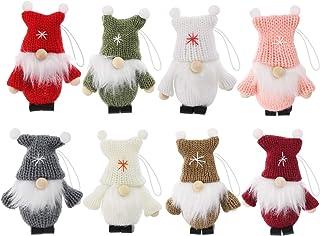 ilauke Lot de 8 Décorations de Noël pour Sapin,Mini Père Poupée Scandinave Suédoise Père Noël,Lutins/Bonhommes Tricotés Su...