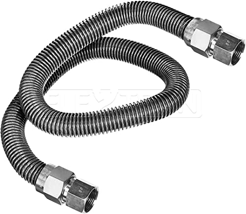 """wholesale Highcraft GUHD-TT12-60C Gas Line outlet sale Hose 5/8"""" O.D. x 60"""" Length with 1/2"""" FIP Fitting, Uncoated Stainless Steel Flexible Connector, 60 popular Inch online"""