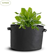 Mophorn 12-Pack 65 Gallon Plant Grow Bag Aeration Fabric Pots with Handles Black Grow Bag Plant Container for Garden Planting Washable and Reusable (12-Pack 65 Gallon)
