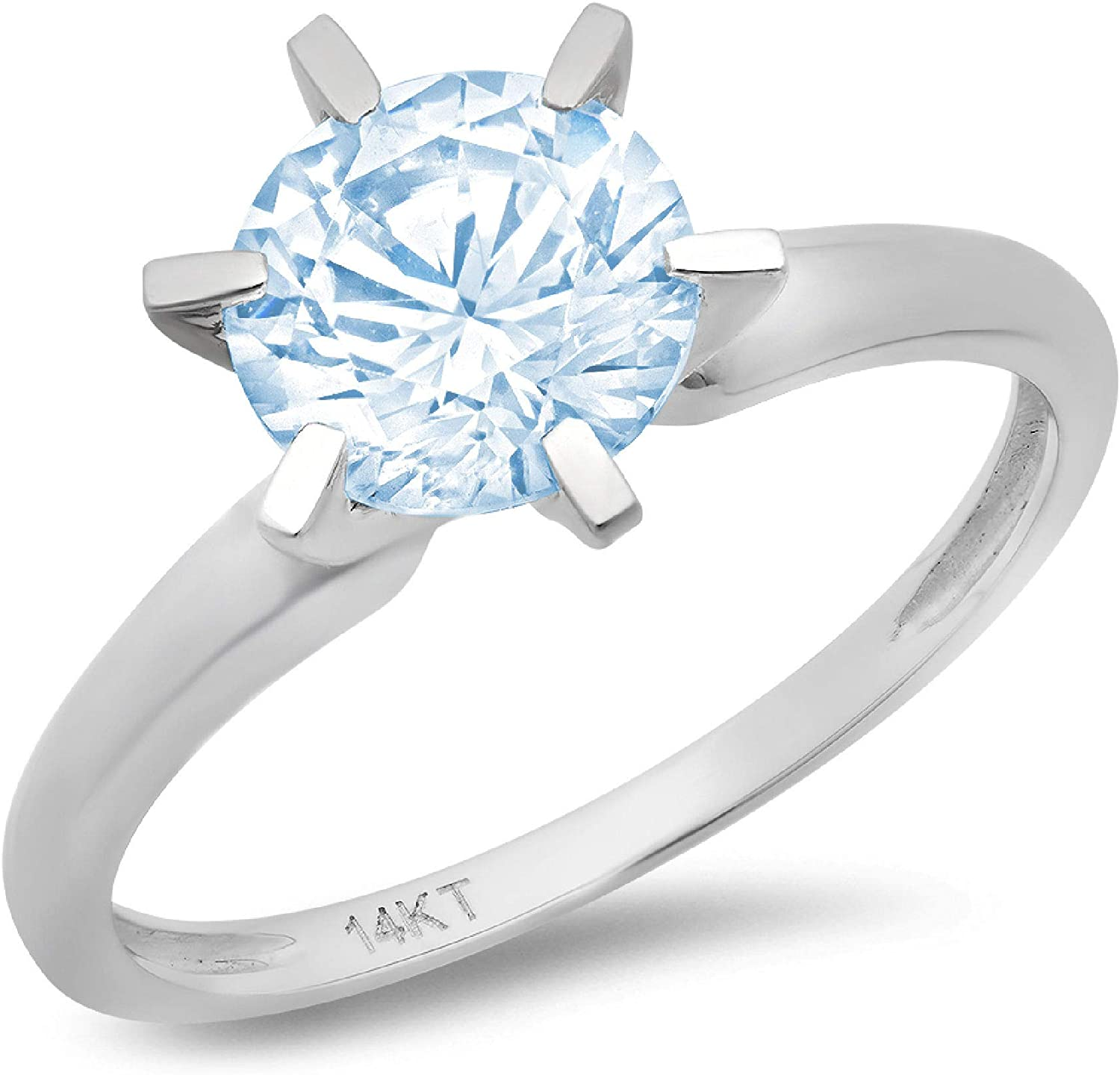 2.9ct Round Cut Solitaire Natural Swiss Blue Topaz Excellent VVS1 6-prong Engagement Wedding Bridal Promise Anniversary Ring Solid 14k White Gold for Women