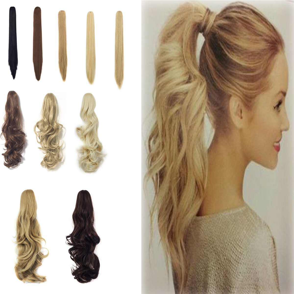 18-21 Inch Straight Seattle Mall Curly Wave Clip Extens Claw Excellent Ponytail Hair In