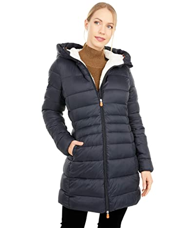 Save the Duck Giga Sherpa Lined Mid Length Puffer Coat (Black) Women