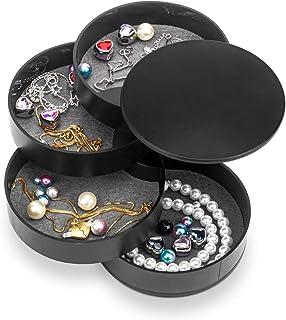 صندوق مجوهرات مع مرآة، منظم إكسسوارات للأغراض ذات 4 أدراج للتخزين، جراب عرض للأقراط والعقود والأساور والخاتم والساعة، أسود