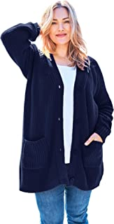 Women's Plus Size Long-Sleeve Shaker Cardigan Sweater