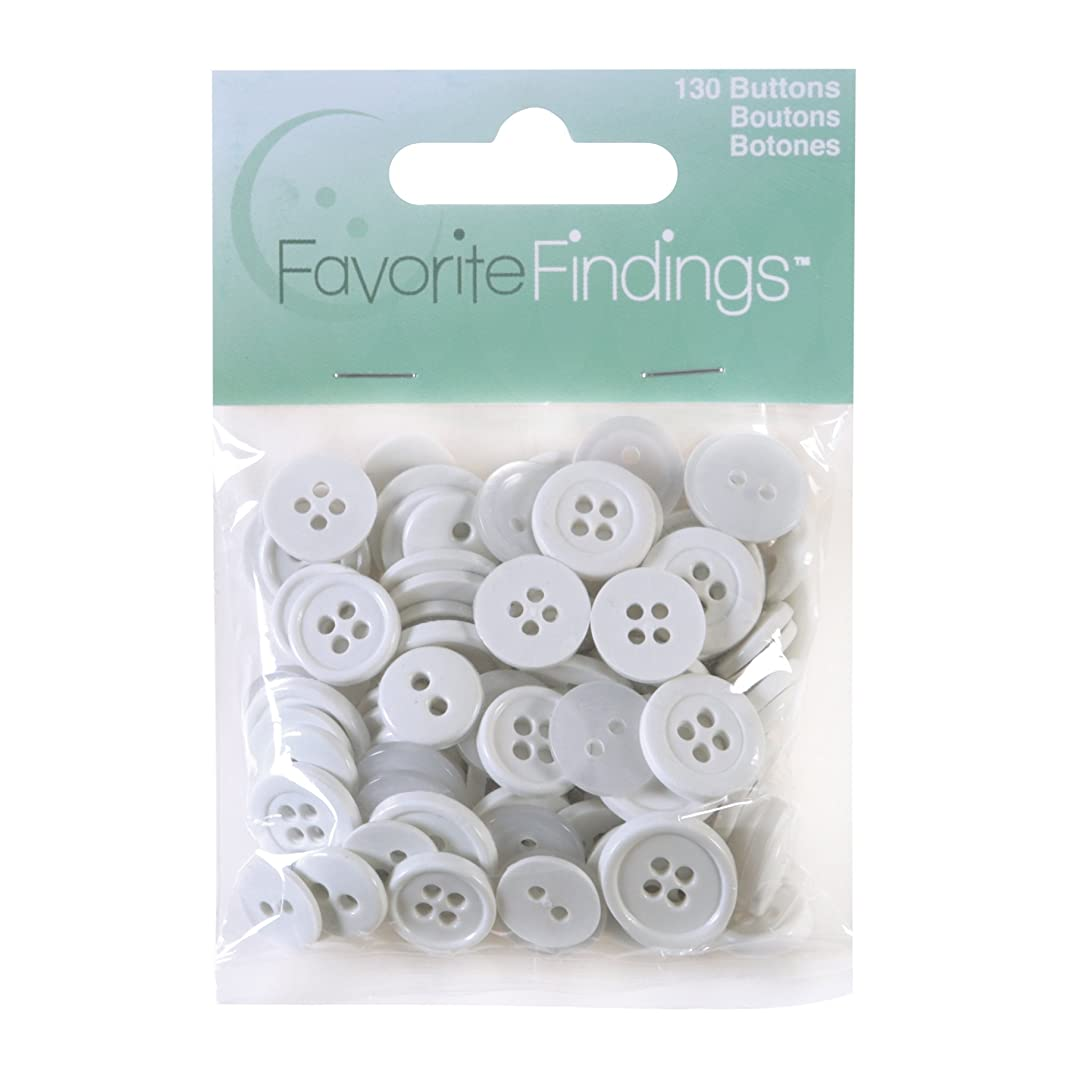 Blumenthal Lansing Favorite Findings Assorted Buttons for Arts and Crafts White 100 Piece