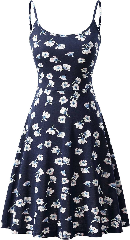 VETIOR Women's Sleeveless Adjustable Strappy Summer Floral Flared Midi Dress