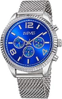 August Steiner Men's Blue Dial Stainless Steel Band Watch - AS8196SSBU