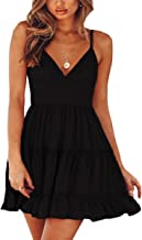 ECOWISH Womens V-Neck Spaghetti Strap Bowknot Backless Sleeveless Lace Mini Swing Skater Dress