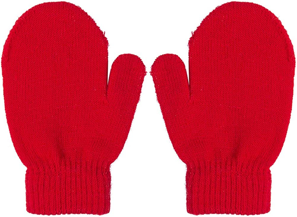 MENOLY 4 Pairs Toddler Magic Stretch Mittens Winter Warm Kids Knit Gloves for Little Girls Boys 4 colors