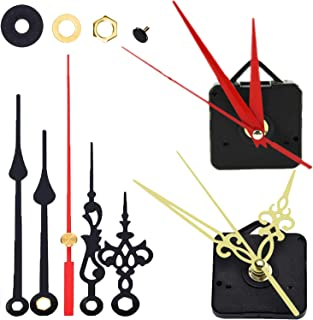 2 Pack Clock Mechanism Replacement Clock Movement with 4 Different Pairs of Working Hands DIY Repair Parts Replacement Battery Operated 1/2 Shaft Length