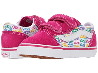 Vans Kids Old Skool V (Infant/Toddler) ((Rainbow Vans) Cabaret/True White) Girls Shoes