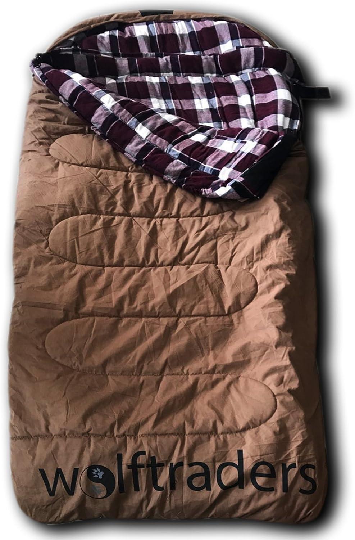 Wolftraders LoneWolf +0 Degree Premium Canvas Oversized Sleeping Bag, Brown Purple