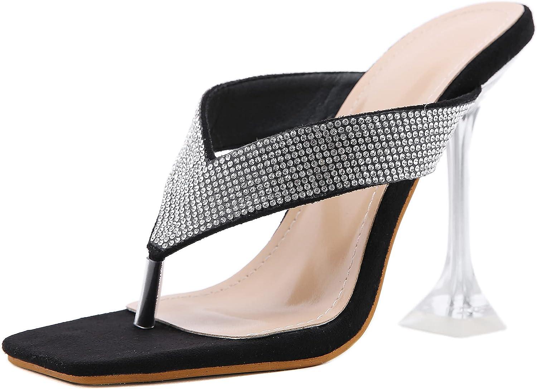 Womens Transaprent Heeled Slides Sandals Stiletto High Heels Flip Flops Rhinestone Mules Square Toe Slippers Slingback Backless Summer Shoes