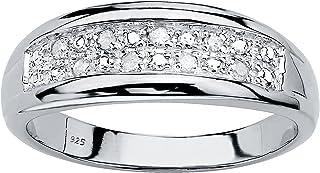 حلقه عروسی عروس دو ردیف الماس اصل دور نقره ای پلاتینیوم مردانه (1/8 ctw ، رنگ من ، وضوح I3)