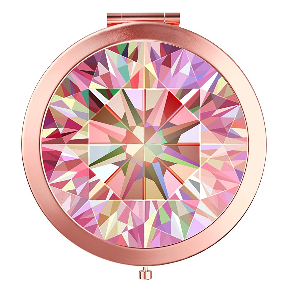 Imiao Diamond Makeup Mirror Rose Gold Compact Mirror Portable Hand Mirror Round Mini Pocket Mirror With 2 x 1x Magnification For Woman,Mother,Girls,Great Gift - Diamond