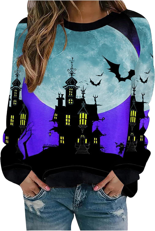 INESVER Halloween Long Sleeve Tee Shirt for Women Casual Autumn Sweatshirt Pullovers Plus Size Hoodie Coat