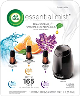 Air Wick Essential Mist Fragrance Oil Diffuser Kit Mist 1+3 Air Freshener