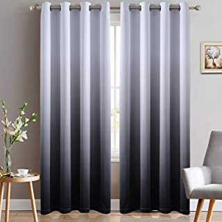 Yakamok Room Darkening Black Gradient Color Ombre Blackout Curtains with Grommet Thickening Polyester Thermal Insulated Wi...