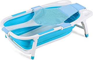 BABY JOY Collapsible Baby Bathtub, Folding Portable Shower Basin with Non-Slip Mat, Storage Slot, Recline Position for Infant (Blue)