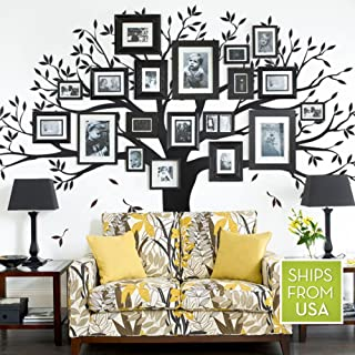Simple Shapes Family Tree Wall Decal (Black, Standard Size : 107