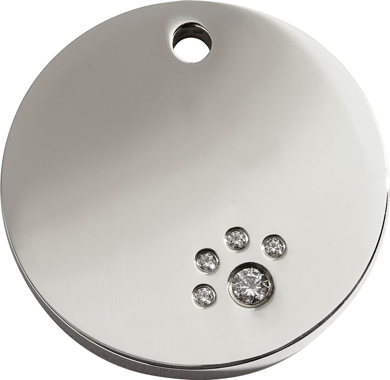 Red Dingo Stainless Steel and Swarovski Diamante Pet I.D. Tag  Circle (medium)