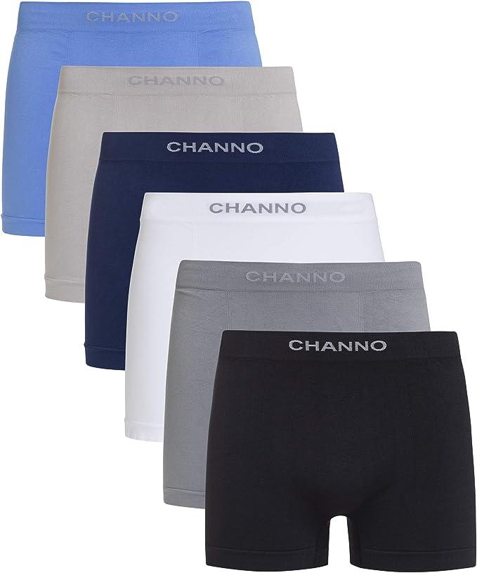 Channo Pack de Calzoncillos Boxer de Hombre Lycra sin Costuras Seamless Liso Color Uniforme