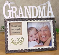 BANBERRY DESIGNS Grandmother Picture Frame - Grandmas are Angels on Earth Saying - Tan Resin Photo Frame for Grandma