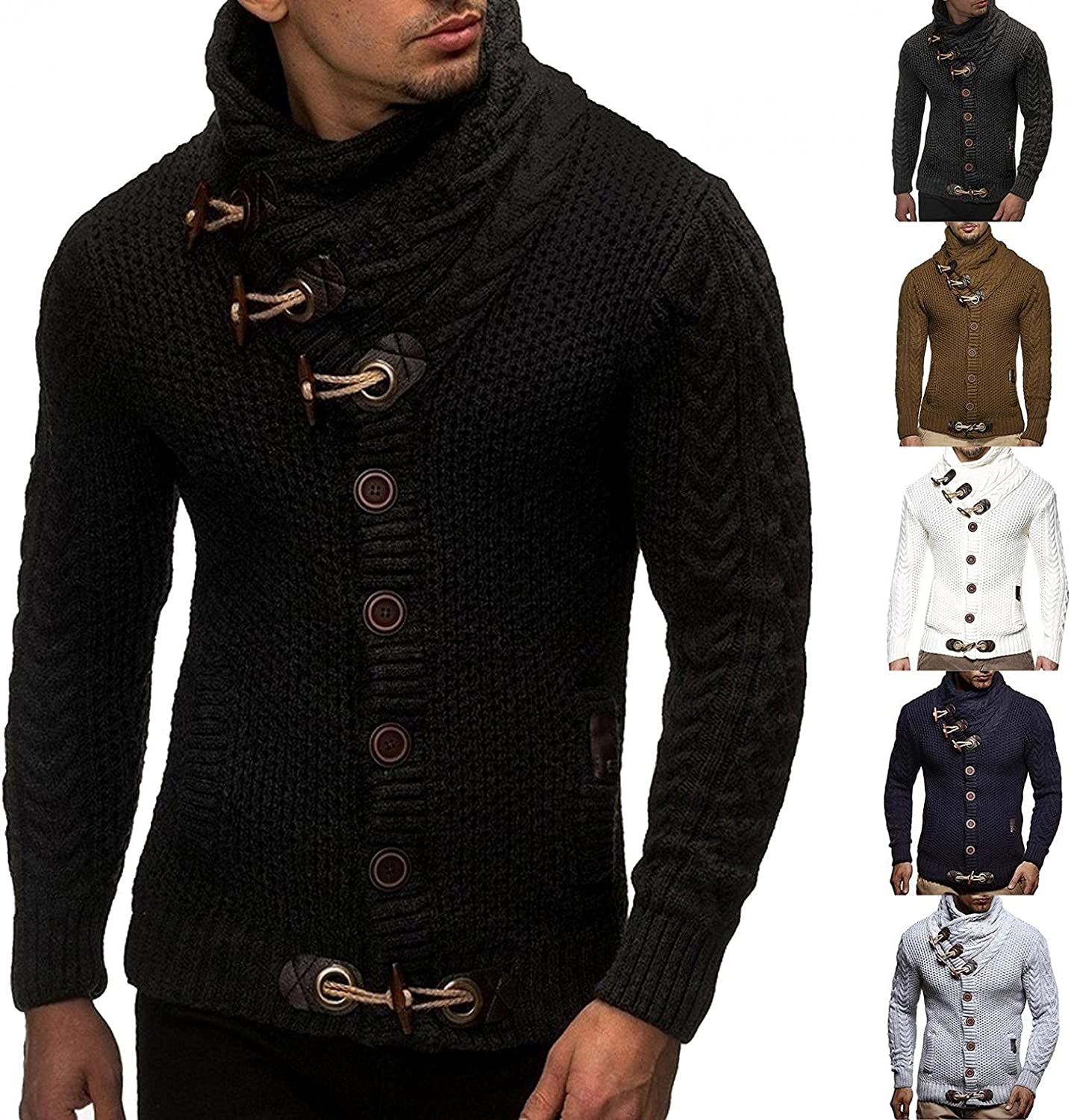 Hoodies for Men Pullover Solid Color Men's Athletic Sweatshirt Button Long Sleeve Tops Knitted Sweater Fall Winter Coats