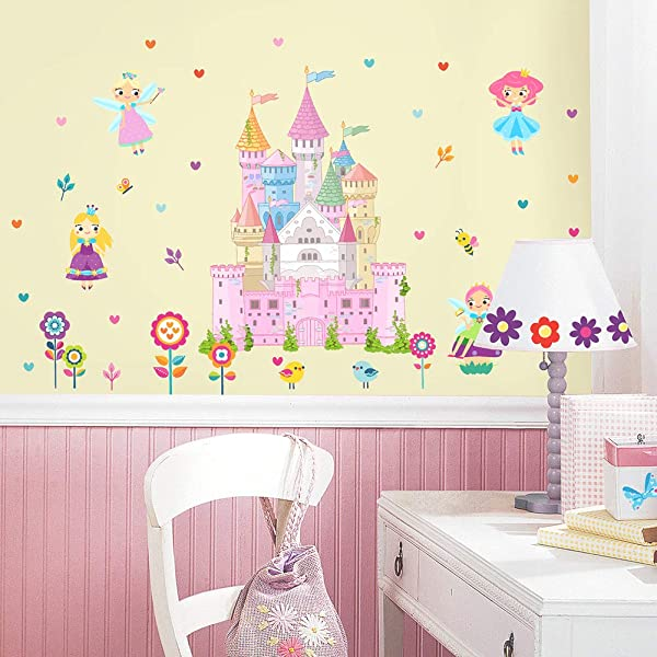 HAOKHOME W 11501 Fairy Flower Princess Wall Sticker Castle For Girls Room Bedroom Living Room Home Decor