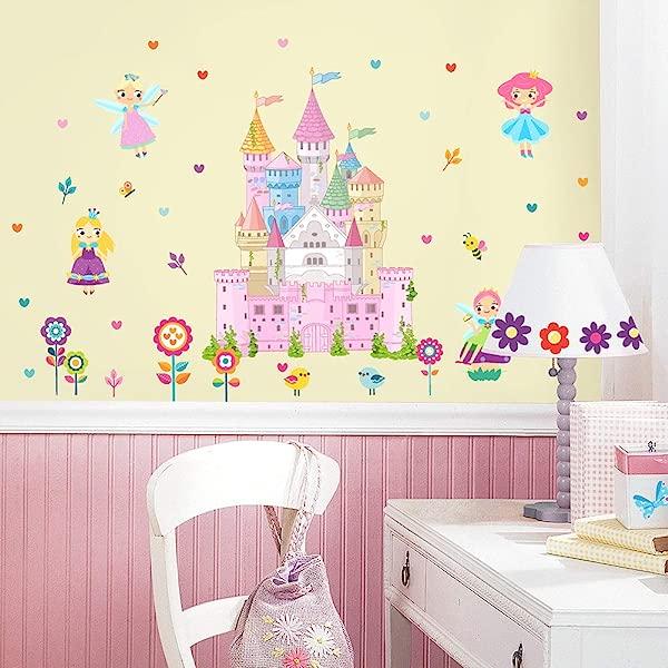 HAOKHOME W 11501 仙女花公主墙贴纸城堡女孩房间卧室客厅家居装饰