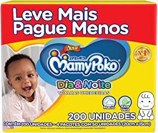 Toalhas Umedecidas MamyPoko Dia&Noite, 200 unidades