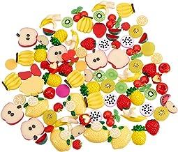 PH PandaHall 90 Pieces 10 Style Fruit Resin Flatback Cabochons DIY Scrapbooking Craft Jewelry Making