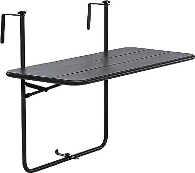 Nero Regolabile in Altezza Tavolo da Appendere a Sospensione di Ferro COSTWAY Tavolino Pieghevole da Balcone 60,5 x 48 x 61,5-82,5 cm