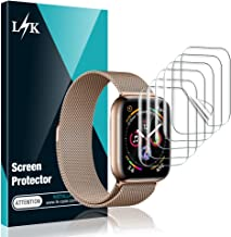 [6 Pack] L K Screen Protector for Apple Watch Series 5 / 4 44mm , [Full Coverage] [Self Healing] Anti-Bubble for iWatch 5 Flexible TPU HD Clear Film, Lifetime Replacement Warranty