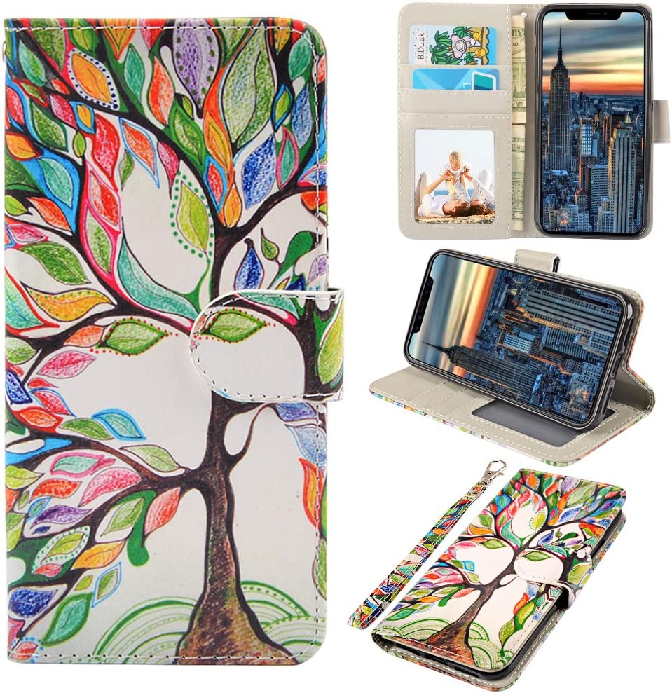 iPhone X Case, UrSpeedtekLive iPhone X Wallet Case, Premium PU Leather Wristlet Flip Case Cover with Card Slots & Stand for Apple iPhone X, Love Tree