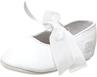 Ralph Lauren Layette Briley Ballet Crib Shoe (Infant/Toddler),White Lambskin,2 M US Infant