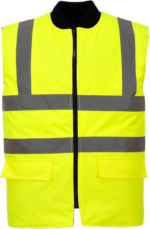 Portwest US469YERXL Regular Fit Hi-Vis Reversible Bodywarmer Vest, X-Large, Yellow