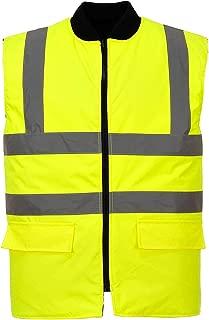 Portwest US469YERM Regular Fit Hi-Vis Reversible Bodywarmer Vest, Medium, Yellow