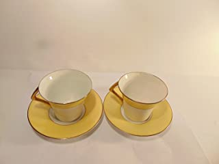 Colclough Genuine Bone China Yellow Band with Flowers and Gold Accent Trim Cup and Saucer, Set of 2