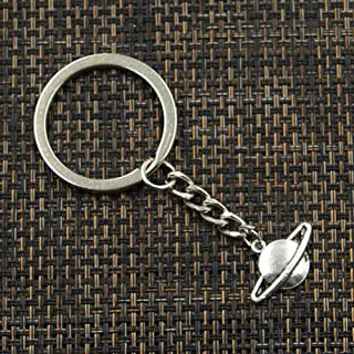 NO BRAND Fashion 30mm Key Ring Metal Key Chain Keychain Jewelry Antique Silver Plated Saturn Planet Spark 20x13mm Pendant