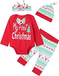 Truly One 3PCS Baby Boys Girls Merry Christmas Plaid Outfit Set Long Sleeve Romper Pants with Hat