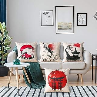 Artscope 4er-Set Dekorativ Kissenbezug 45 x 45 cm, Baumwolle Leinen Kissenbezüge Dekokissen Kissenhülle Set Kissen Fall für Sofa Auto Schlafzimmer Zuhause Dekor (Japanischer Stil A)