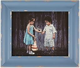 مجموعة إطارات الصور الخشبية ديستريسد مستوحاة من مزرعة الريفية من دي آي آي إي، مقاس 20.32 سم × 25.4 سم، باللون الأزرق الحجري
