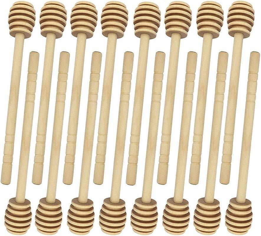 16 Pack Mini Wood Honey Dippers Drizzler Stirring Stick For Honey Jar Pot Dispense 4 Inch