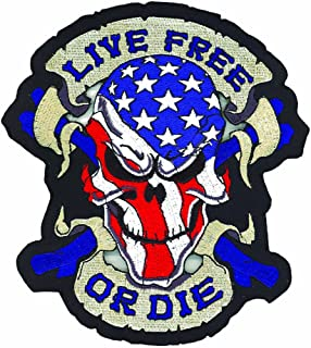 "Lethal Threat (LT30070 `Live Free OR DIE` USA Skull Embroidered Patch (13"" x 12"")"