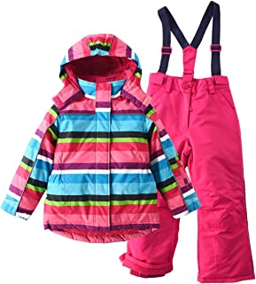 M2C Girls Thicken Warm Hooded Striped Ski Snowsuit Jacket & Pants
