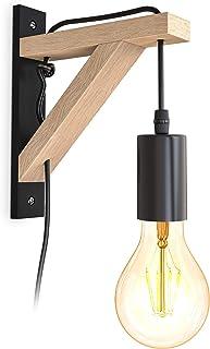 B.K.Licht I lámpara de pared de madera I madera natural negra I 2,5 m de cable interruptor I E27 I 1 llama I sin bombilla