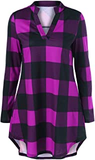 CharMma Women's Split Neck Long Sleeve Plaid Boyfriend T-Shirt Blouse