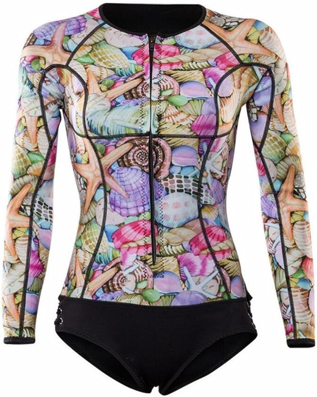 LUCKY-U Woman Wetsuit, Flower Prin Comfortable Long Sleeve Snorkeling Diving Suit Ladies Sailing Seaside Vacation Wetsuit
